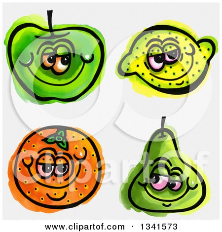 Clipart of Sketched and Watercolored Happy Fruit Characters - Royalty Free Illustration by Prawny