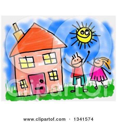 Clipart of a Doodle of Happy Caucasian Children Playing in the Yard of Their House on a Summer Day - Royalty Free Illustration by Prawny
