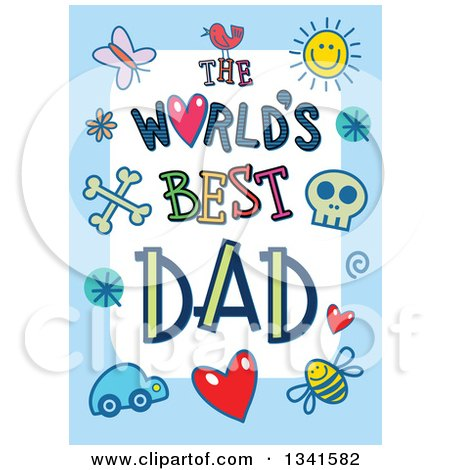 Clipart of a Doodled the Worlds Best Dad Occasion Design over Purple - Royalty Free Vector Illustration by Prawny