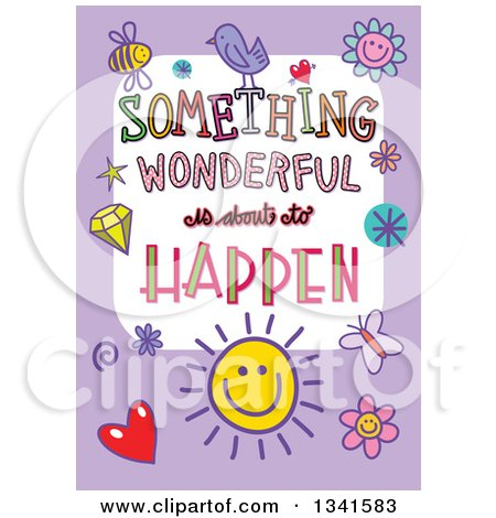Clipart of a Doodled Something Wonderful Is About to Happen Occasion Design over Purple - Royalty Free Vector Illustration by Prawny