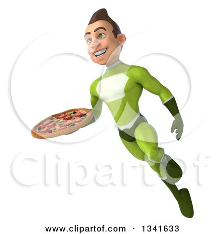 Clipart of a 3d Young White Male Super Hero in a Green Suit, Holding a Pizza and Flying - Royalty Free Illustration by Julos