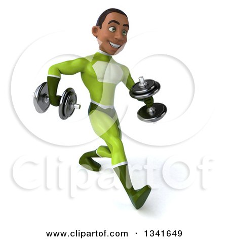Clipart of a 3d Young Black Male Super Hero in a Green Suit, Speed Walking Slightly to the Right with Dumbbells - Royalty Free Illustration by Julos