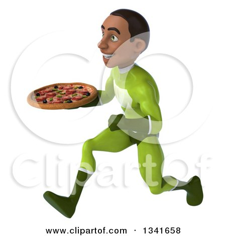 Clipart of a 3d Young Black Male Super Hero in a Green Suit, Holding a Pizza and Sprinting to the Left - Royalty Free Illustration by Julos