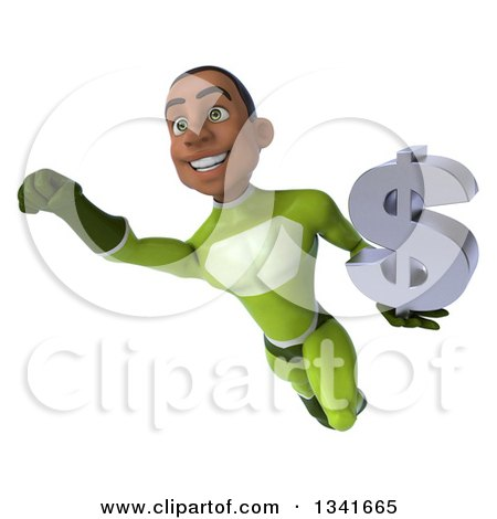 Clipart of a 3d Young Black Male Super Hero in a Green Suit, Holding a Dollar Currency Symbol and Flying - Royalty Free Illustration by Julos