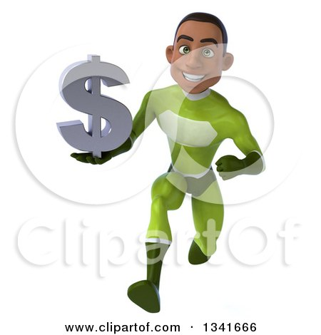 Clipart of a 3d Young Black Male Super Hero in a Green Suit, Holding a Dollar Currency Symbol and Sprinting - Royalty Free Illustration by Julos