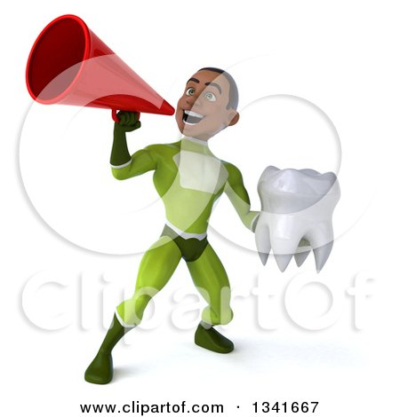 Clipart of a 3d Young Black Male Super Hero in a Green Suit, Holding a Tooth and Announcing with a Megaphone - Royalty Free Illustration by Julos