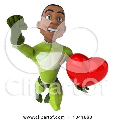 Clipart of a 3d Young Black Male Super Hero in a Green Suit, Holding a Red Love Heart and Flying - Royalty Free Illustration by Julos