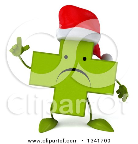 Clipart of a 3d Unhappy Green Christmas Naturopathic Cross Character Holding up a Finger - Royalty Free Illustration by Julos