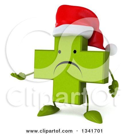 Clipart of a 3d Unhappy Green Christmas Naturopathic Cross Character Presenting - Royalty Free Illustration by Julos
