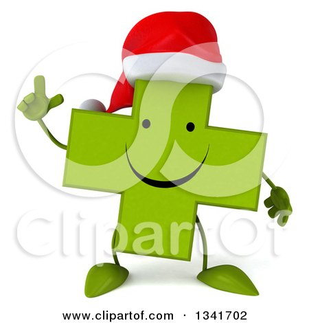Clipart of a 3d Happy Green Christmas Naturopathic Cross Character Holding up a Finger - Royalty Free Illustration by Julos