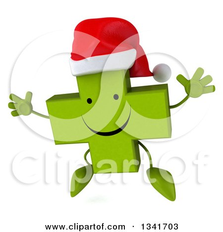 Clipart of a 3d Happy Green Christmas Naturopathic Cross Character Jumping - Royalty Free Illustration by Julos