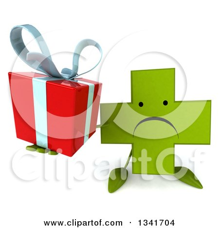 Clipart of a 3d Unhappy Green Naturopathic Cross Character Holding up a Gift - Royalty Free Illustration by Julos