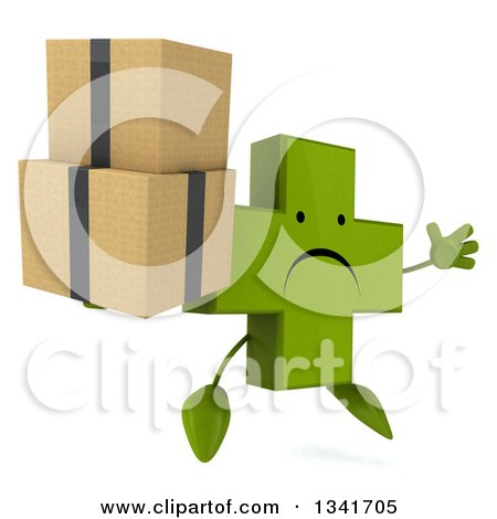 Clipart of a 3d Unhappy Green Naturopathic Cross Character Facing Slightly Right, Jumping and Holding Boxes - Royalty Free Illustration by Julos