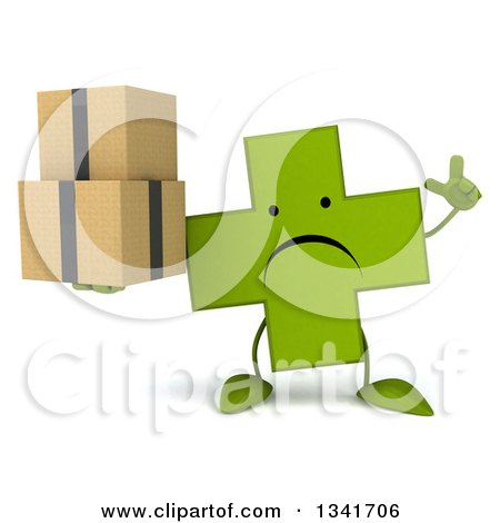 Clipart of a 3d Unhappy Green Naturopathic Cross Character Holding up a Finger and Boxes - Royalty Free Illustration by Julos
