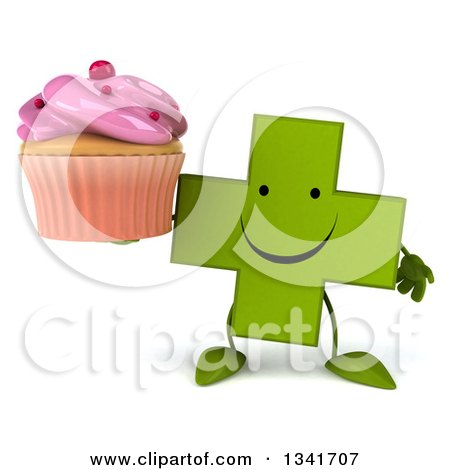 Clipart of a 3d Happy Green Naturopathic Cross Character Holding a Pink Frosted Cupcake - Royalty Free Illustration by Julos
