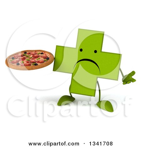 Clipart of a 3d Unhappy Green Naturopathic Cross Character Shrugging and Holding a Pizza - Royalty Free Illustration by Julos