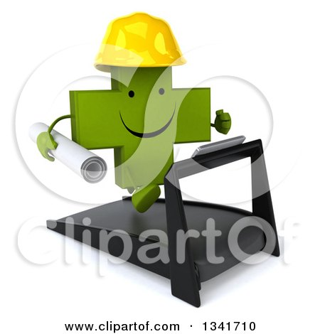 Clipart of a 3d Happy Green Contractor Naturopathic Cross Character Running on a Treadmill, Facing Slightly Right - Royalty Free Illustration by Julos