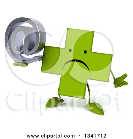 Clipart of a 3d Unhappy Green Naturopathic Cross Character Shrugging and Holding an Email Arobase at Symbol - Royalty Free Illustration by Julos