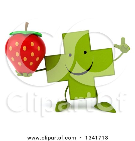 Clipart of a 3d Happy Green Naturopathic Cross Character Holding up a Finger and a Strawberry - Royalty Free Illustration by Julos