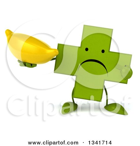 Clipart of a 3d Unhappy Green Naturopathic Cross Character Holding and Pointing to a Banana - Royalty Free Illustration by Julos