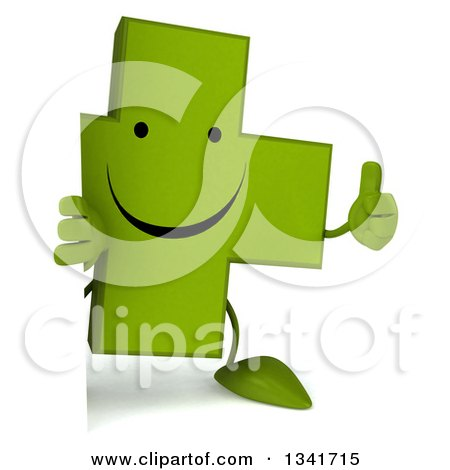 Clipart of a 3d Happy Green Naturopathic Cross Character Holding a Thumb up Around a Sign - Royalty Free Illustration by Julos