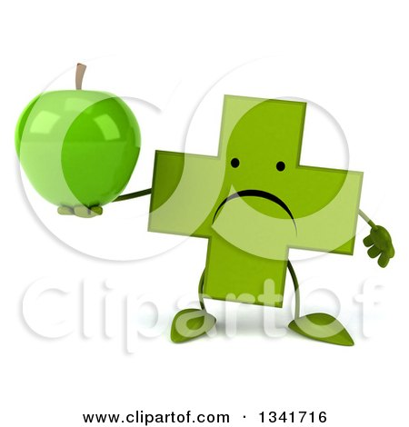 Clipart of a 3d Unhappy Green Naturopathic Cross Character Holding an Apple - Royalty Free Illustration by Julos