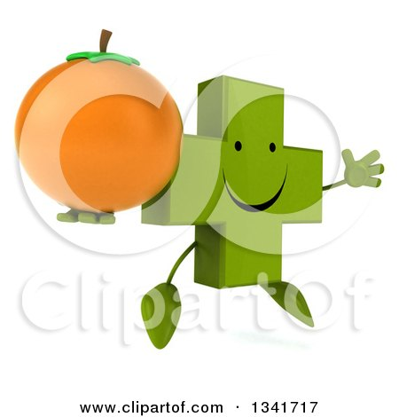 Clipart of a 3d Happy Green Naturopathic Cross Character Holding a Navel Orange, Facing Slightly Right and Jumping - Royalty Free Illustration by Julos