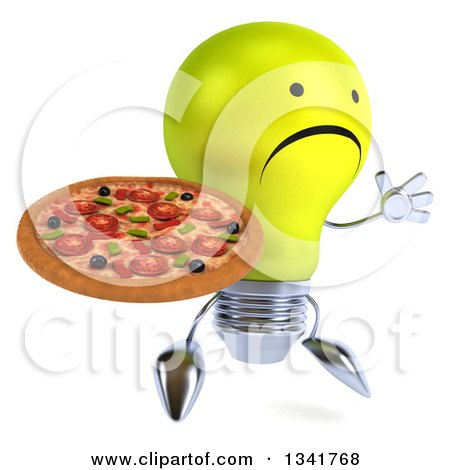 Clipart of a 3d Unhappy Yellow Light Bulb Character Facing Slightly Right, Jumping and Holding a Pizza - Royalty Free Illustration by Julos