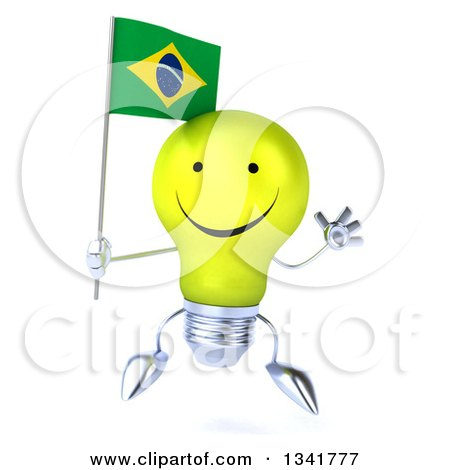 Clipart of a 3d Happy Yellow Light Bulb Character Holding a Brazilian Flag and Jumping - Royalty Free Illustration by Julos