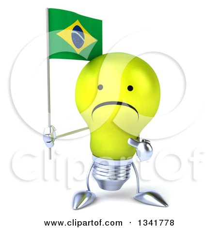 Clipart of a 3d Unhappy Yellow Light Bulb Character Holding and Pointing to a Brazilian Flag - Royalty Free Illustration by Julos
