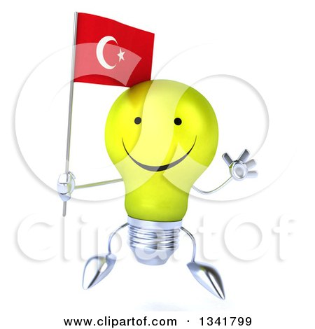 Clipart of a 3d Happy Yellow Light Bulb Character Holding a Turkish Flag and Jumping - Royalty Free Illustration by Julos