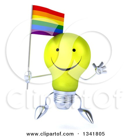 Clipart of a 3d Happy Yellow Light Bulb Character Holding a Rainbow Flag and Jumping - Royalty Free Illustration by Julos