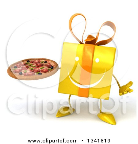 Clipart of a 3d Happy Yellow Gift Character Shrugging and Holding a Pizza - Royalty Free Illustration by Julos