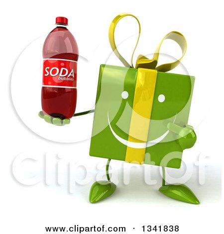 Clipart of a 3d Happy Green Gift Character Holding and Pointing to a Soda Bottle - Royalty Free Illustration by Julos