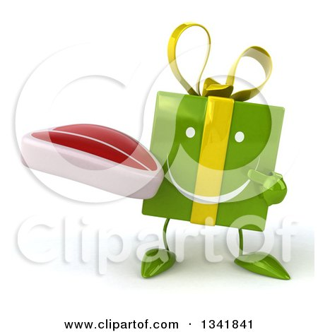 Clipart of a 3d Happy Green Gift Character Holding and Pointing to a Beef Steak - Royalty Free Illustration by Julos