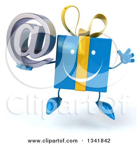 Clipart of a 3d Happy Blue Gift Character Holding an Email Arobase at Symbol and Jumping - Royalty Free Illustration by Julos