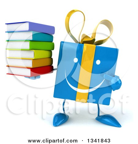 Clipart of a 3d Happy Blue Gift Character Holding and Pointing to a Stack of Books - Royalty Free Illustration by Julos