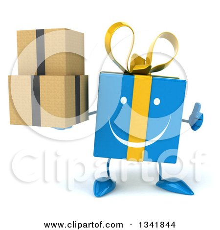 Clipart of a 3d Happy Blue Gift Character Holding Boxes and Giving a Thumb up - Royalty Free Illustration by Julos