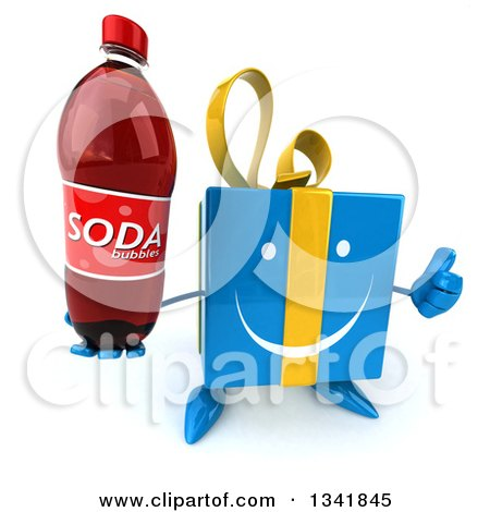 Clipart of a 3d Happy Blue Gift Character Holding up a Thumb and a Soda Bottle - Royalty Free Illustration by Julos