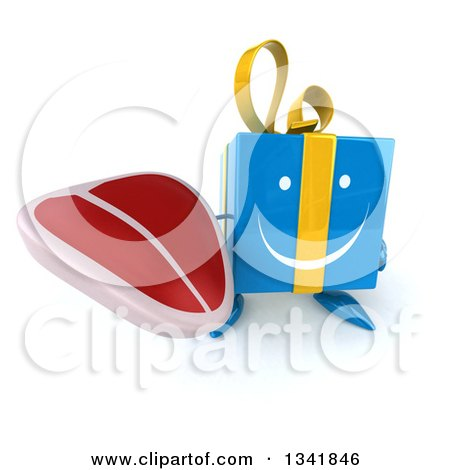 Clipart of a 3d Happy Blue Gift Character Holding up a Beef Steak - Royalty Free Illustration by Julos