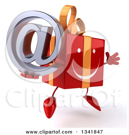 Clipart of a 3d Happy Red Gift Character Holding an Email Arobase at Symbol, Facing Slightly Right and Jumping - Royalty Free Illustration by Julos