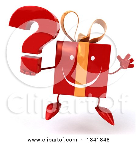 Clipart of a 3d Happy Red Gift Character Holding a Question Mark and Jumping - Royalty Free Illustration by Julos