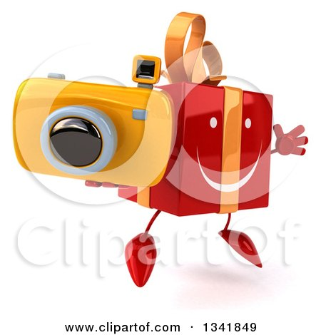Clipart of a 3d Happy Red Gift Character Holding a Camera, Facing Slightly Right and Jumping - Royalty Free Illustration by Julos