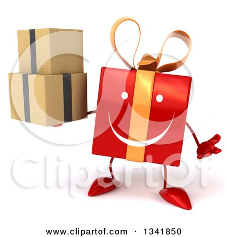 Clipart of a 3d Happy Red Gift Character Shrugging and Holding Boxes - Royalty Free Illustration by Julos
