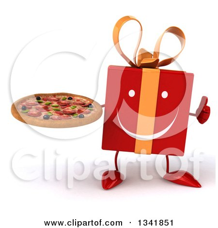 Clipart of a 3d Happy Red Gift Character Giving a Thumb up and Holding a Pizza - Royalty Free Illustration by Julos