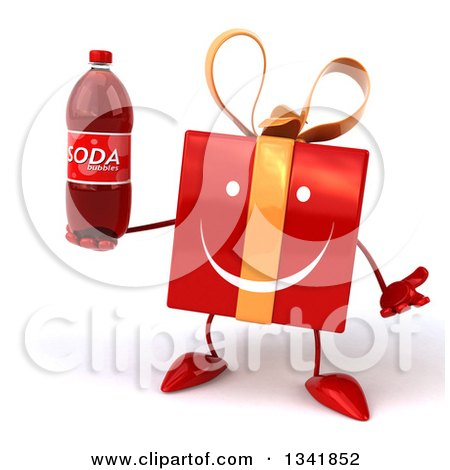 Clipart of a 3d Happy Red Gift Character Shrugging and Holding a Soda Bottle - Royalty Free Illustration by Julos