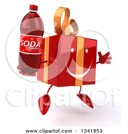 Clipart of a 3d Happy Red Gift Character Facing Slightly Right, Jumping and Holding a Soda Bottle - Royalty Free Illustration by Julos