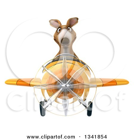 Clipart of a 3d Kangaroo Aviator Pilot Flying a Yellow Airplane - Royalty Free Illustration by Julos