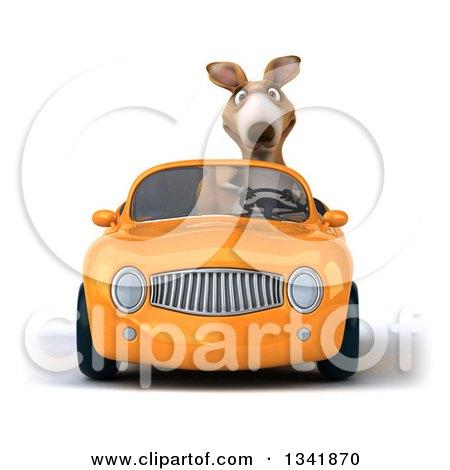 Clipart of a 3d Kangaroo Driving an Orange Convertible Car - Royalty Free Illustration by Julos