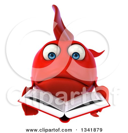 Clipart of a 3d Sad Red Fish Reading a Book - Royalty Free Illustration by Julos